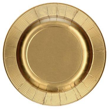 60-teiliges Set Einweggeschirr Goldina mit goldenem Zick-Zack Muster, für 8 Personen - 241ML + 243RCL + 71RCL  + 07RCL + 8x Messer + 8x Gabel – Bild 2