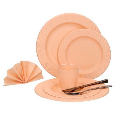 60-teiliges Set Einweggeschirr Pastell Orange matt, für 8 Personen - 241TPO + 243TPO + 71TPO + 07TPO + 8x Messer + 8x Gabel – Bild 1