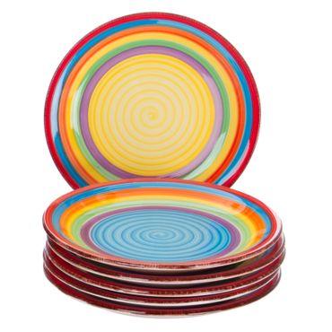 6er Set Dessert-Kuchenteller Ibiza bunt – Bild 1
