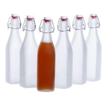 6er Set Glasflaschen Serie Swing Frosted mit Bügelverschluss 500ml – Bild 1