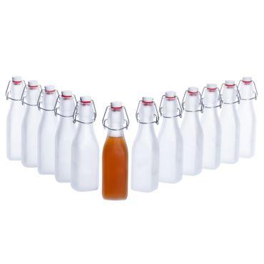 12er Set Glasflaschen Serie Swing Frosted mit Bügelverschluss 250ml – Bild 1