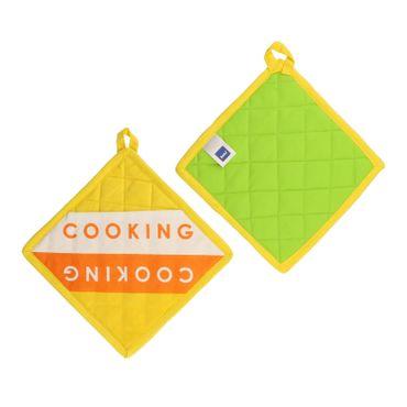 4er Set 2x Topfhandschuh + 2x Topflappen Madlene Cooking 100% Baumwolle - 11323 + 11324 – Bild 3