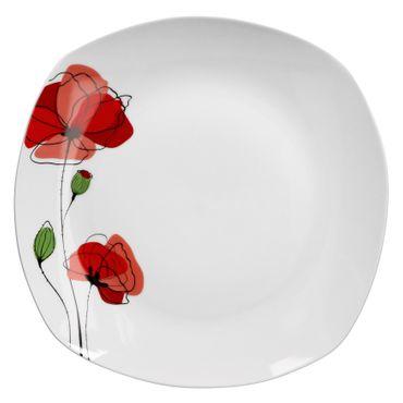 Monika Servierplatte 28,5cm weiß mit rotem Blumendekor