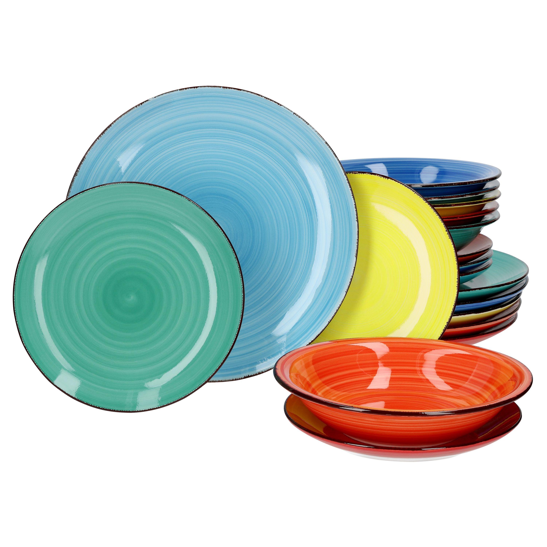 18tlg Tellerset Colour Power 6 Personen Bunt Teller Tafel Geschirr Porzellan