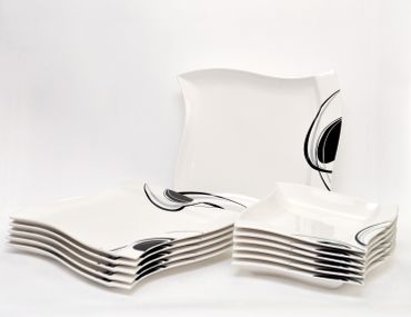 Tafelservice Scarlett 12-teilig eckig Porzellan für 6 Personen weiß mit schwarzem Dekor geschwungene Kanten – Bild 2