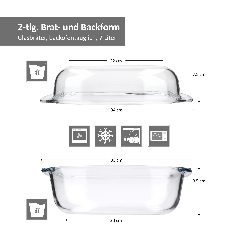 Brat und Backform mit Deckel Wellco 34x21,5cm eckig 7