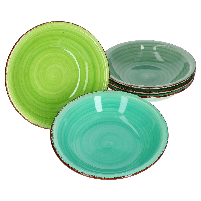 MamboCat 6er Green Baita Suppenteller gr/üner Landhausstil I /Ø 21,5 cm I Essteller tief I Rustikale Optik I Steingut