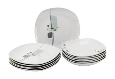 Tafelservice Lido 12tlg. leicht eckig Porzellan für 6 Personen weiß mit Dekor – Bild 1