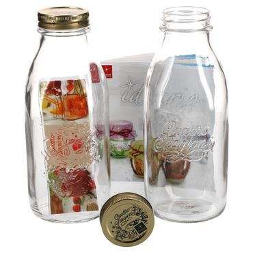 2er Set Einmachglas Original Quattro Stagioni 1,0L Flasche incl. Bormioli Rezeptheft – Bild 1
