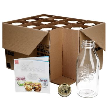 12er Set Einmachglas Original Quattro Stagioni 1,0L Flasche incl. Bormioli Rezeptheft – Bild 1