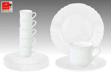 Kaffeeservice Ebro 18tlg. rund aus Hartglas für 6 Personen weiß – Bild 1