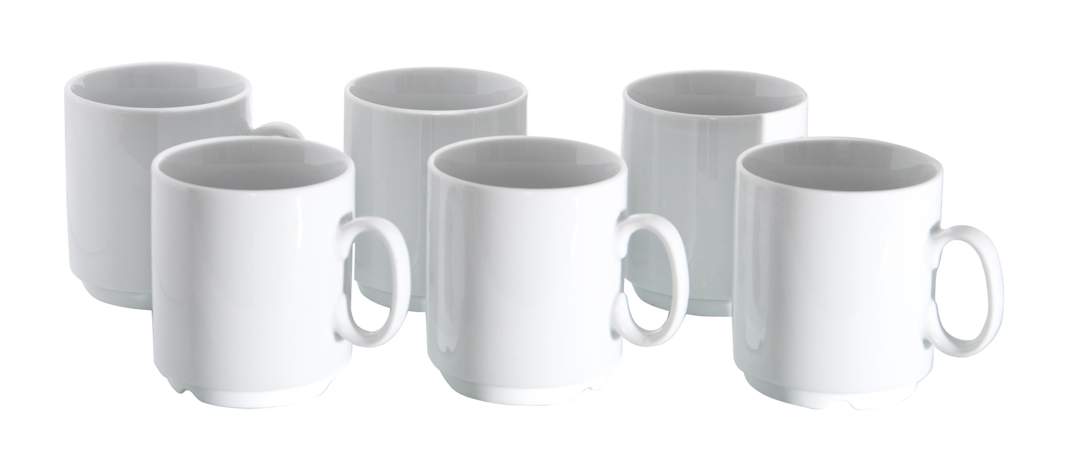 6er set van well porzellan kaffeebecher profi 280ml wei stapelbar porzellan tassen und becher. Black Bedroom Furniture Sets. Home Design Ideas