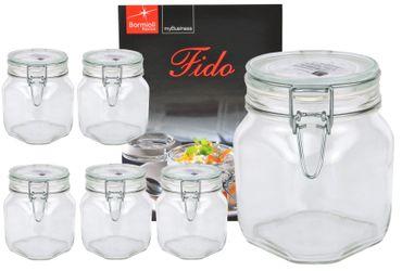 6er Set Einmachglas Bügelverschluss Original Fido 0,75L incl. Bormioli Rezeptheft – Bild 1