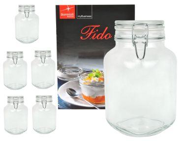 6er Set Einmachglas Bügelverschluss Original Fido 2,0L incl. Bormioli Rezeptheft
