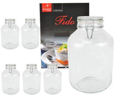 6er Set Einmachglas Bügelverschluss Original Fido 4,0L incl. Bormioli Rezeptheft
