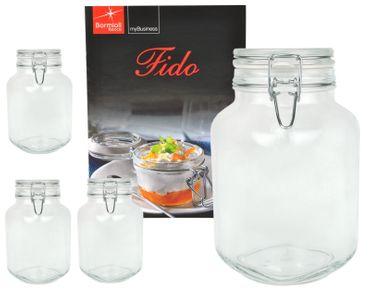 4er Set Einmachglas Bügelverschluss Original Fido 3,0L incl. Bormioli Rezeptheft