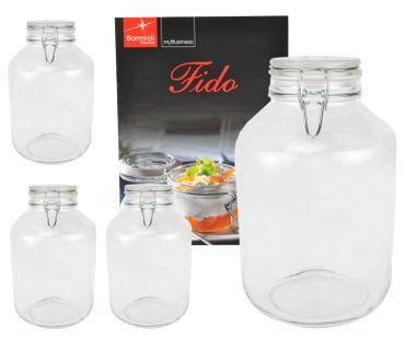 4er Set Einmachglas Bügelverschluss Original Fido 4,0L incl. Bormioli Rezeptheft