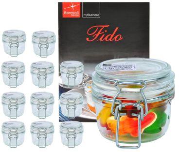 12er Set Einmachglas Bügelverschluss Original Fido 0,125L incl. Bormioli Rezeptheft – Bild 1