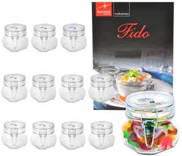 12er Set Einmachglas Bügelverschluss Original Fido 0,5L incl. Bormioli Rezeptheft – Bild 1