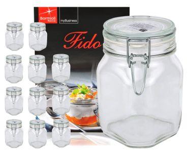 12er Set Einmachglas Bügelverschluss Original Fido 1,0L incl. Bormioli Rezeptheft – Bild 1