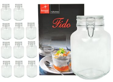 12er Set Einmachglas Bügelverschluss Original Fido 2,0L incl. Bormioli Rezeptheft – Bild 1