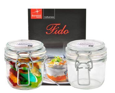 2er Set Einmachglas Bügelverschluss Original Fido 0,2L incl. Bormioli Rezeptheft – Bild 1