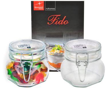 2er Set Einmachglas Bügelverschluss Original Fido 0,5L incl. Bormioli Rezeptheft – Bild 1
