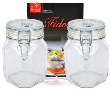 2er Set Einmachglas Bügelverschluss Original Fido 1,0L incl. Bormioli Rezeptheft – Bild 1