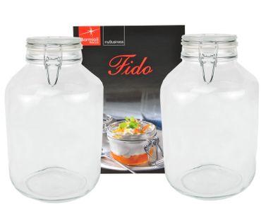 2er Set Einmachglas Bügelverschluss Original Fido 4,0L incl. Bormioli Rezeptheft