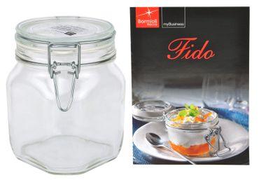 Einmachglas Bügelverschluss Original Fido 0,75L incl. Bormioli Rezeptheft – Bild 1