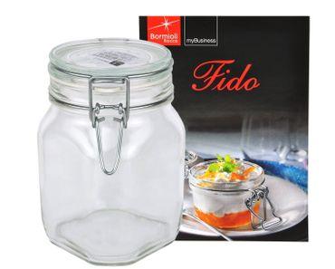 Einmachglas Bügelverschluss Original Fido 1,0L incl. Bormioli Rezeptheft