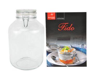 Einmachglas Bügelverschluss Original Fido 4,0L incl. Bormioli Rezeptheft
