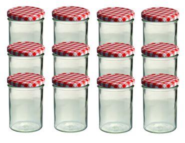 12er Set Sturzglas 435 ml Marmeladenglas Einmachglas Einweckglas To 82 rot karierter Deckel – Bild 1