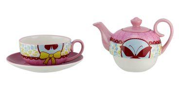 4tlg. Set Tea for one - Design: Piep Schmetterling - Teekanne mit Deckel, Tasse und Untertasse aus Leichtkeramik 5429 – Bild 2