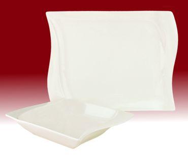 Tafelservice Harmony 12tlg. eckig Porzellan für 6 Personen weiß geschwungene Kanten – Bild 1