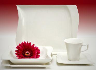 Kombiservice Harmony 30-teilig eckig Porzellan für 6 Personen weiß geschwungene Kanten – Bild 1