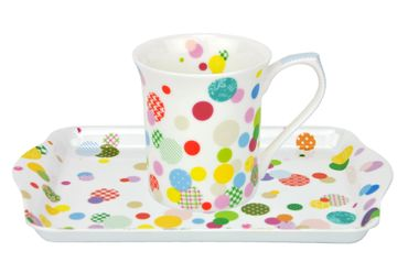 Geschenkset Tasse in Geschenkbox + Tablett Konfetti Fine Bone China Porzellan – Bild 1