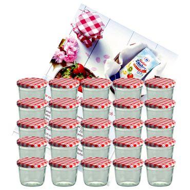 25er Set Sturzglas 230 ml Marmeladenglas Einmachglas Einweckglas To 82 rot karierter Deckel incl. Diamant-Zucker Gelierzauber Rezeptheft – Bild 1