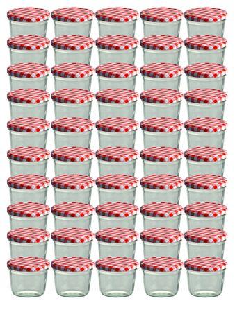 50er Set Sturzglas 230 ml Marmeladenglas Einmachglas Einweckglas To 82 rot karierter Deckel incl. Diamant-Zucker Gelierzauber Rezeptheft