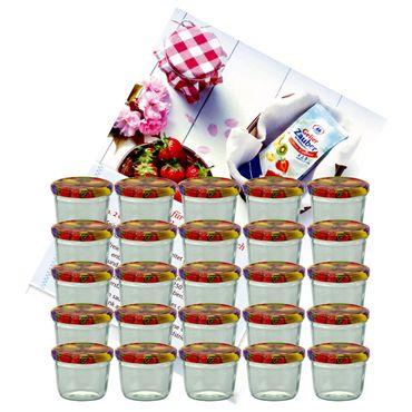 25er Set Sturzglas 230 ml Marmeladenglas Einmachglas Einweckglas To 82 Obst Dekor Deckel incl. Diamant-Zucker Gelierzauber Rezeptheft – Bild 1