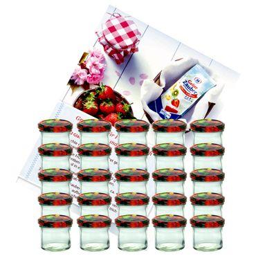 25er Set Sturzglas 125 ml Marmeladenglas Einmachglas Einweckglas To 66 Obst Dekor Deckel incl. Diamant-Zucker Gelierzauber Rezeptheft – Bild 1