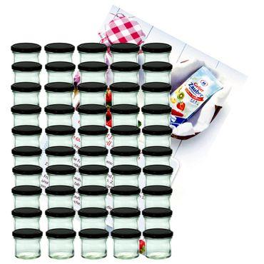 50er Set Sturzglas 125 ml Marmeladenglas Einmachglas Einweckglas To 66 schwarzer Deckel incl. Diamant-Zucker Gelierzauber Rezeptheft – Bild 1
