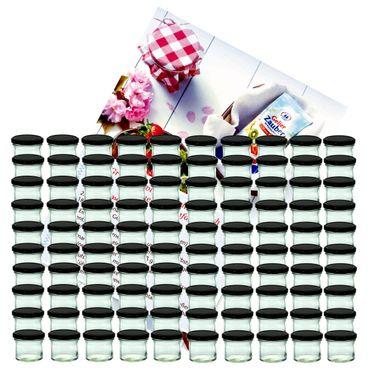 100er Set Sturzglas 125 ml Marmeladenglas Einmachglas Einweckglas To 66 schwarzer Deckel incl. Diamant-Zucker Gelierzauber Rezeptheft
