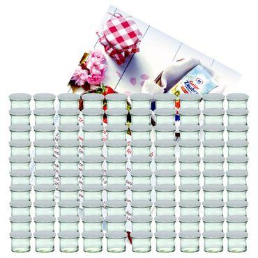 100er Set Sturzglas 125 ml Marmeladenglas Einmachglas Einweckglas To 66 weißer Deckel incl. Diamant-Zucker Gelierzauber Rezeptheft – Bild 1