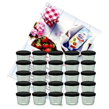 25er Set Sturzglas 230 ml Marmeladenglas Einmachglas Einweckglas To 82 schwarzer Deckel incl. Diamant-Zucker Gelierzauber Rezeptheft