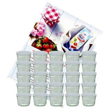 25er Set Sturzglas 230 ml Marmeladenglas Einmachglas Einweckglas To 82 weißer Deckel incl. Diamant-Zucker Gelierzauber Rezeptheft – Bild 1