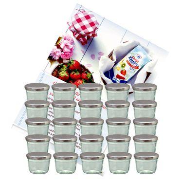 25er Set Sturzglas 230 ml Marmeladenglas Einmachglas Einweckglas To 82 silberner Deckel incl. Diamant-Zucker Gelierzauber Rezeptheft – Bild 1