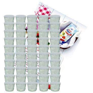 50er Set Sturzglas 230 ml Marmeladenglas Einmachglas Einweckglas To 82 weißer Deckel incl. Diamant-Zucker Gelierzauber Rezeptheft – Bild 1