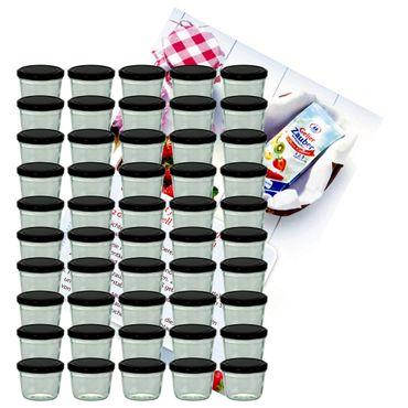 75er Set Sturzglas 230 ml Marmeladenglas Einmachglas Einweckglas To 82 schwarzer Deckel incl. Diamant-Zucker Gelierzauber Rezeptheft