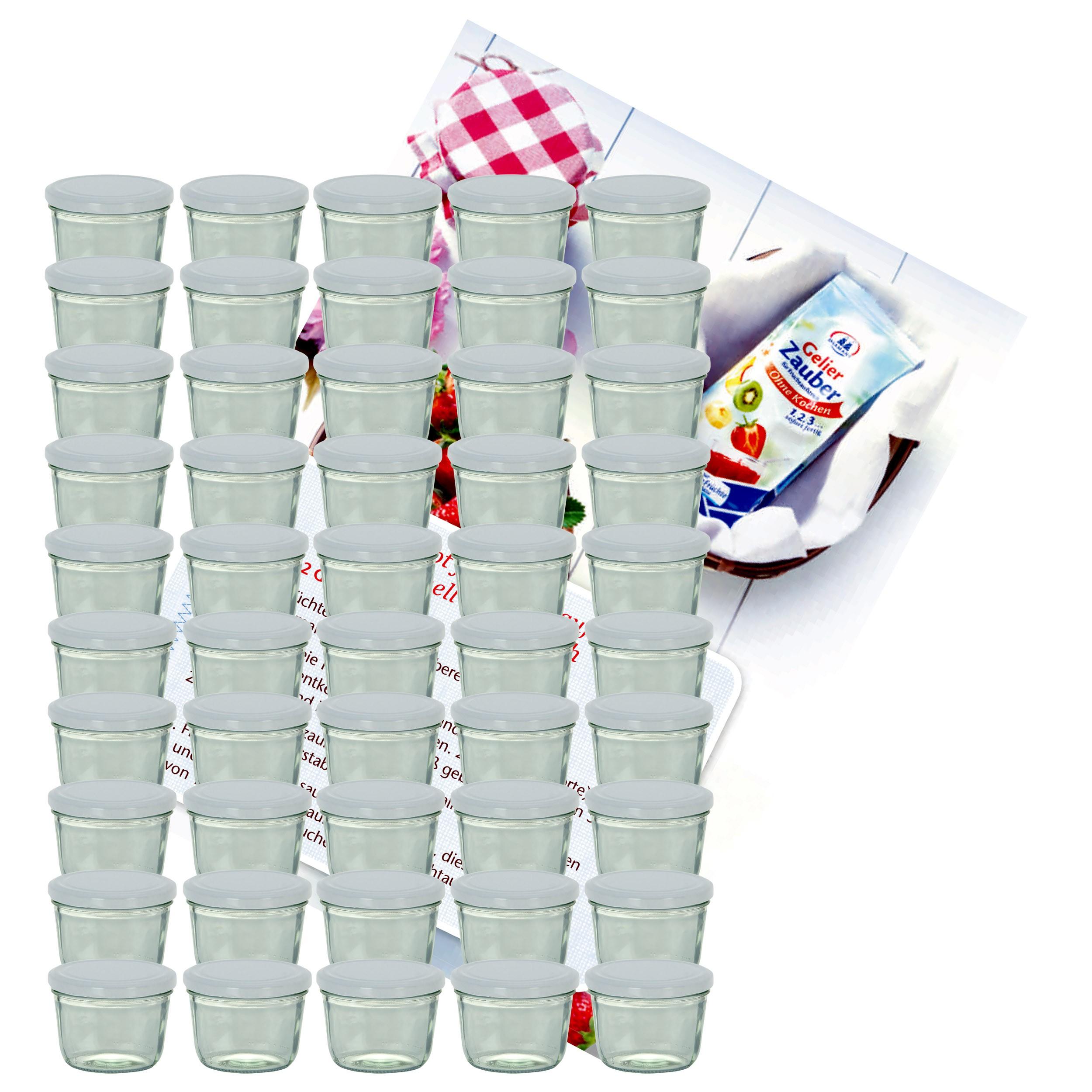 50 x Sturzglas 230 ml Marmeladenglas Einmachglas Weiß Einweckgläser Einkochen